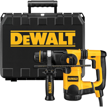 DEWALT 1 inch L-SHAPE SDS PLUS ROTARY HAMMER KIT WITH SHOCKS KIT