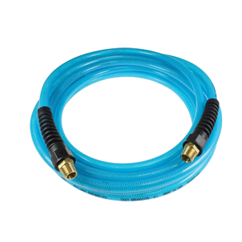 FLEXEEL WITH REUSEABLE STRAIN RELIEF FITTINGS - BLUE 3/8 inch X 50'