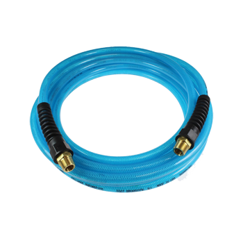 COILHOSE FLEXEEL® WITH REUSEABLE STRAIN RELIEF FITTINGS - BLUE 3/8 inch X 100'