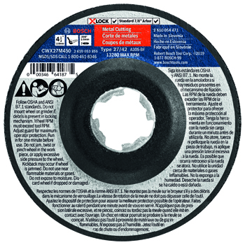 BOSCH X-LOCK 4-1/2 inch TYPE 27A (ISO 42) 30 GRIT METAL CUTTING ABRASIVE WHEEL