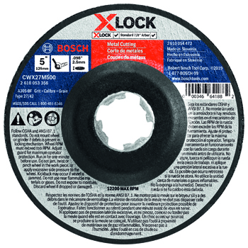 BOSCH X-LOCK 5 inch TYPE 27A (ISO 42) 30 GRIT METAL CUTTING ABRASIVE WHEEL