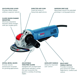 BOSCH X-LOCK 4-1/2 inch ERGONOMIC ANGLE GRINDER WITH PADDLE SWITCH