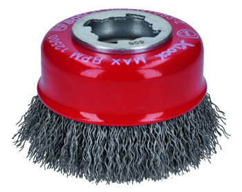 BOSCH X-LOCK 3 inch CARBON STEEL KNOTTED WIRE SINGLE ROW CUP BRUSH