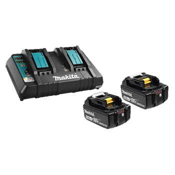 MAKITA 18V 2 x (5.0 Ah) LI-ION BATTERY & DUAL-PORT CHARGER KIT