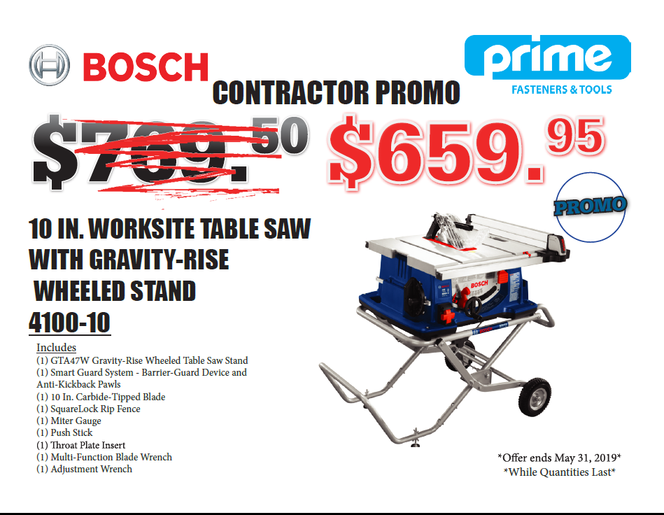 "Bosch - 10"" Worksite Table Saw with Gravity-Rise Wheeled Stand"